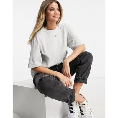 アディダス adidas Originals レディース Tシャツ トップス Trefoil Essentials Logo Oversized T-Shirt In Light Grey グレー