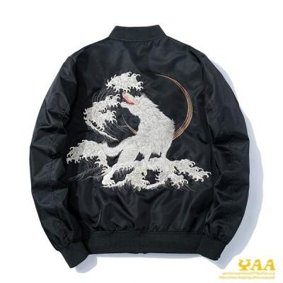 ジャケット 中綿ジャケット メンズ MA-1 MA1 中綿入り 刺繍 ミリタリージャケット フライトジャケット オオカミ柄 ジャンパー ブルゾン
