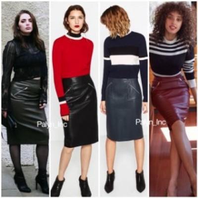 ファッション スカート Rare_NWT ZARA AW16 High Waisted FAUX LEATHER PENCIL SIKRT W/ zipped pockets