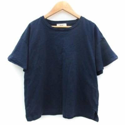 【中古】ビームスハート Tシャツ カットソー 五分袖 ラウンドネック フレアスリーブ 無地 ネイビー 紺 レディース