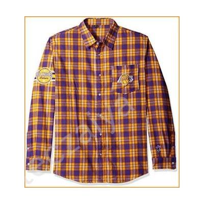Los Angeles Lakers Wordmark Basic Flannel Shirt Medium並行輸入品