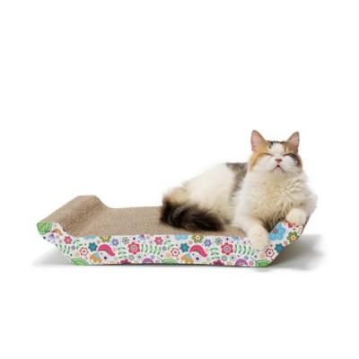 猫壱 バリバリベッド L 花柄 猫用品 ツメとぎ 本体 寝かせ型 両面 キャットニップ付