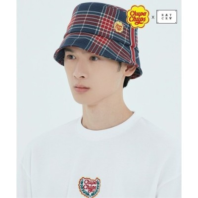 帽子 ハット 【CHUPA CHUPS × ROMANTIC CROWN】CHECK BUCKET HAT / チュッパチャップス × ロマンティック