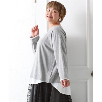【大きいサイズ】 ゆるシルエット重ね着風トップス plus size T-shirts,