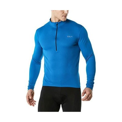 TSLA メンズ 長袖 バイク サイクリング ジャージ 速乾性 通気性 反射 バイクシャツ 背面ポケット3つ付き S ブルー