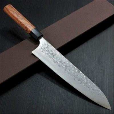 日本製 鍛造 ダマスカス 伝統的工芸品 越前打刃物 手作り包丁 牛刀 210mm V金10号 クロス仕上げ 槌目 紫檀 カトウ打刃物