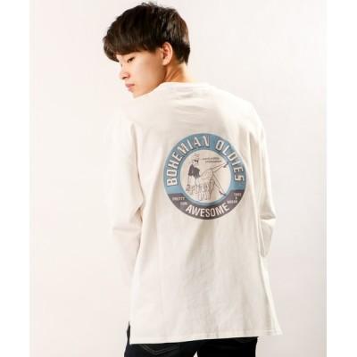tシャツ Tシャツ 【IFRUN ORIGINAL】16/-天竺バックプリントプリント 長袖Tシャツ(OLDIES)