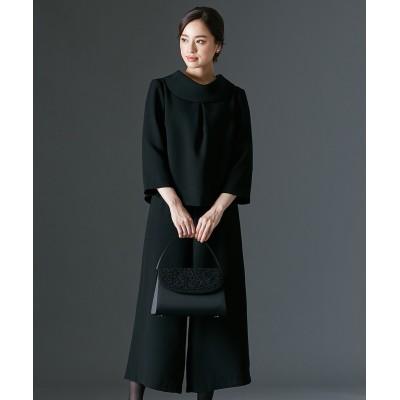 【喪服・礼服】日本製生地使用!洗える防しわ加工ロールネックブラウス+ワイドパンツセットアップ<大きいサイズ有> ブラックフォーマル, Funeral Outfit