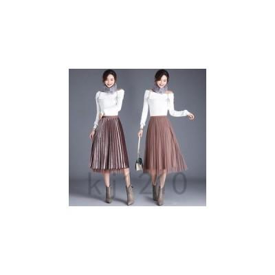 プリーツスカートチュールスカートレディースミモレ丈両面着えツヤ体型カバーウェストゴムフレアスカート春物女性
