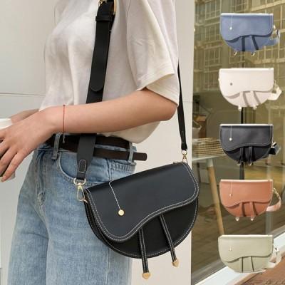 ショルダーバッグ 斜めがけ 小さめ PUレザー 革 コンパクト ミニ 半円 ステッチ 韓国 黒 バッグ 鞄 レディース