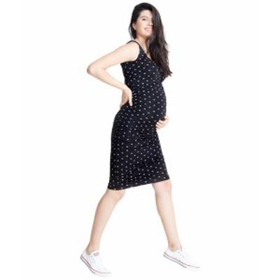 イングリッドアンドイザベル レディース ワンピース トップス Side Shirred Midi Maternity Dress Jet Black/Arrow Print
