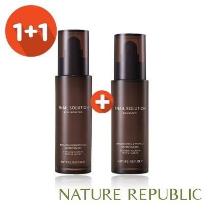 「ネイチャーリパブリック」★1+1★スネイルソリューションスキンブースター/エマルジョン/ [Nature Republic] Snail Solution Skin Booster/Emulsion