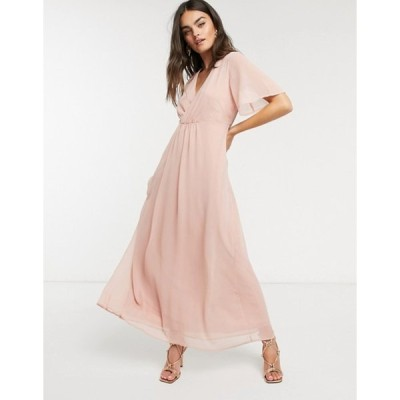 ヴィラ レディース ワンピース トップス Vila maxi dress with gathered wrap front and flutter sleeves in pink
