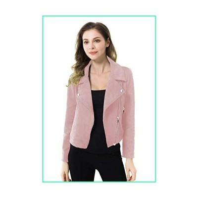 Apperloth Faux Suede Jackets for Women Long Sleeve Zipper Short Moto Biker Coat (Pink, XS)並行輸入品
