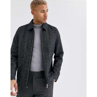 エイソス ASOS DESIGN メンズ ジャケット スイングトップ アウター wool mix harrington jacket in grey check ブラック