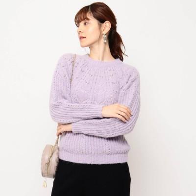 クチュール ブローチ Couture brooch 【ECO/再生繊維使用】アイレットニットプルオーバー (ライトパープル)