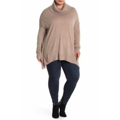 ファッション トップス SUSINA NEW Beige Womens Size 1X Plus Cowl Neck Tunic Stretch Sweater