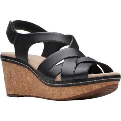 クラークス サンダル シューズ レディース Annadel Rayna Wedge Sandal (Women's) Black Leather
