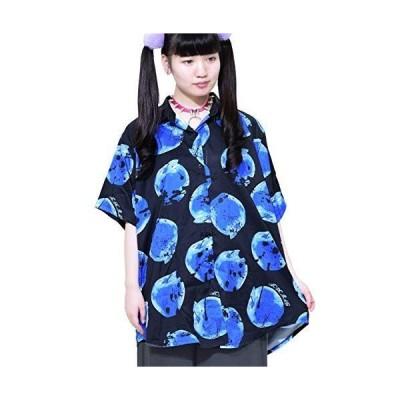 エーシーディーシーラグ (半袖)リンゴシャツ ビッグシルエット 総柄 パンク 原宿系 レディース ブラック
