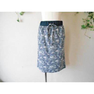 美品 プリシラバス Priscilla bus 春夏 向き 薄手 生地 の 迷彩 柄風 総ゴム スカート 2