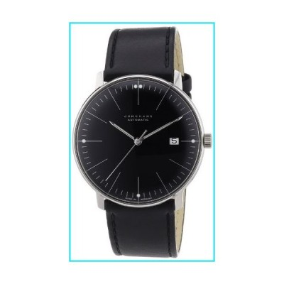Junghans Max Bill Automatic Mens Watch - 38mm Analog Black Face Classic Watch with Luminous Hands and Date - Stainless Steel Black Leather B