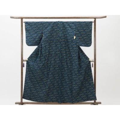 【中古】リサイクル紬 / 正絹紺地先染袷真綿紬着物 (古着 中古 紬 リサイクル品)
