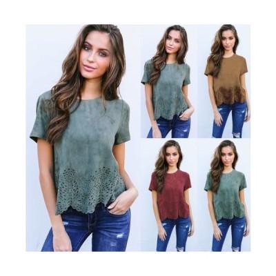 レディース カットソー Tシャツ 半袖 スカラップ お花 フラワー 可愛い オシャレ 綺麗 ユニーク 珍しい グリーン レッド ブラウン 緑 赤 茶色