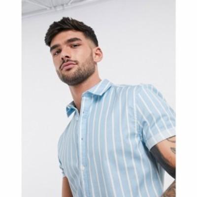エイソス ASOS DESIGN メンズ シャツ トップス skinny stripe shirt in blue ブルー