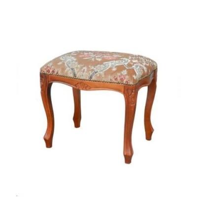 優雅な表情が魅力の金華山織イタリア製スツール(ベージュ)ヨーロピアン 猫脚 椅子 補助椅子 布張り 豪華 エレガント 彫り 角型 便利 コンパクト