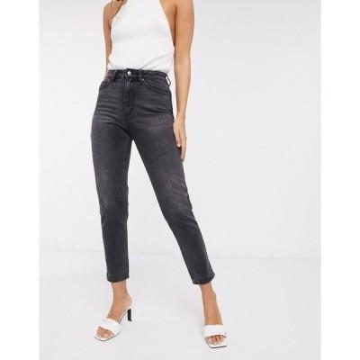 ヴェロモーダ レディース デニムパンツ ボトムス Vero Moda mom jean with high rise in washed black Washed black