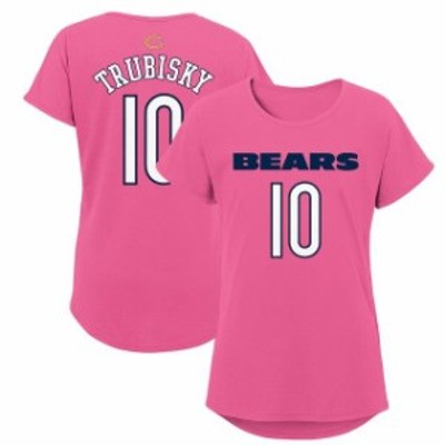 Outerstuff アウタースタッフ スポーツ用品  Mitchell Trubisky Chicago Bears Girls Youth Pink Dolman Mainliner Name &