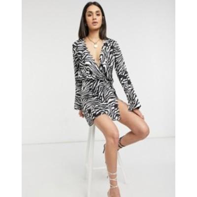 エイソス レディース ワンピース トップス ASOS DESIGN bias cut drape mini dress with button detail in zebra Multi