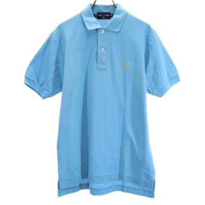 フレッドペリー ゴルフ 半袖 ポロシャツ M ブルー FRED PERRY 鹿の子 ワンポイントロゴ メンズ 古着 210604 メール便可
