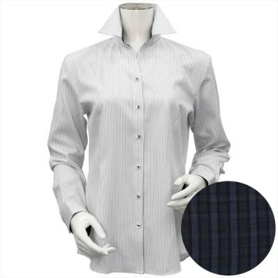 レディース ウィメンズシャツ 長袖 形態安定 HOT-2 スキッパー衿 白×グレーストライプ