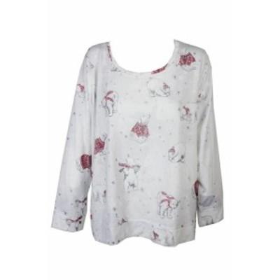 Polar ポーラー ファッション トップス Style & Co White Red Polar Bear Printed Embellished Crew Sweatshirt L
