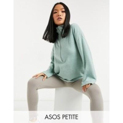 エイソス レディース ニット・セーター アウター ASOS DESIGN Petite sweater with zip through and wide sleeves in blue Blues