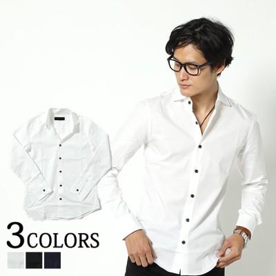 シャツ メンズ トップス ホリゾンタルカラー 長袖 シンプル コットン