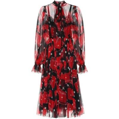 ドルチェ&ガッバーナ Dolce & Gabbana レディース ワンピース ミドル丈 ワンピース・ドレス printed silk midi dress Borsette Fdo.Nero