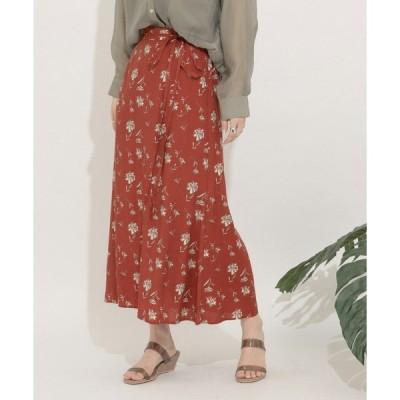 スカート フラワープリントナロースカート