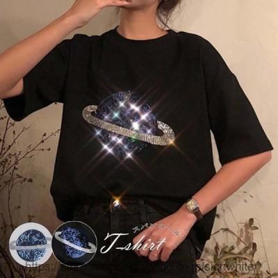 スパンコール tシャツ レディース 半袖 カジュアル トップス ゆったり カットソー