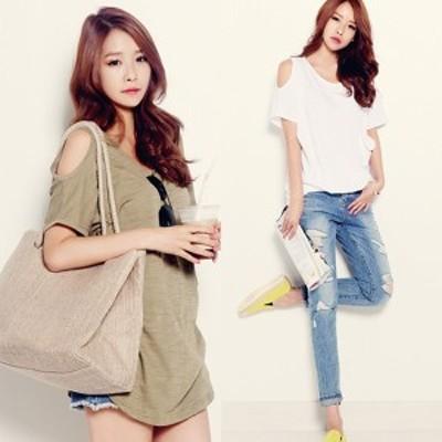 肩出しトップス Tシャツ レディース 無地 カジュアル シンプル ラフコーデ トップス カジュアル オルチャン 韓国 ファッション