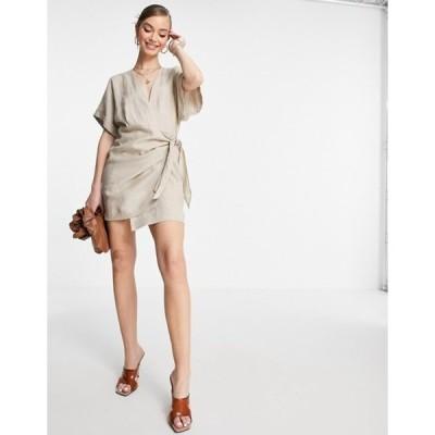 アンドアザーストーリーズ レディース ワンピース トップス & Other Stories linen wrap mini dress in beige