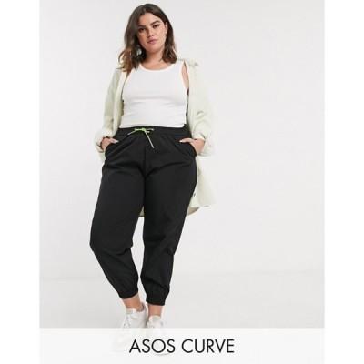エイソス レディース カジュアルパンツ ボトムス ASOS DESIGN Curve shell jogger in black