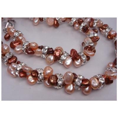 ネックレス 天然真珠  m1822 珍しい 天然再生真珠