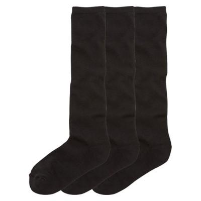 綿混 黒無地 底パイルハイソックス3足組(フリーサイズ) ハイソックス・オーバーニー, Socks