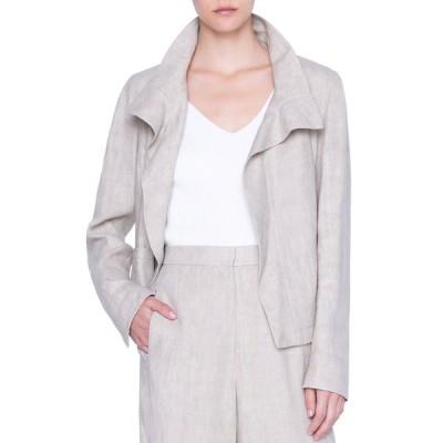 アクリス プント レディース ジャケット・ブルゾン アウター Raw Washed Linen Stand-Collar Jacket