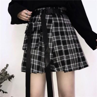 スカート ミニ丈 チェック柄 腰ベルト レディース ファッション