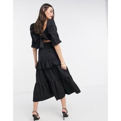 ビルゴスラウンジ レディース ワンピース トップス VL The Label puff sleeve volume bow back tiered frill midi dress in black