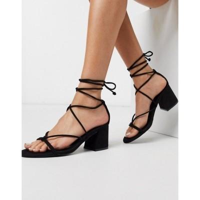 プルアンドベアー レディース サンダル シューズ Pull&Bear strappy mid heels sandals in black