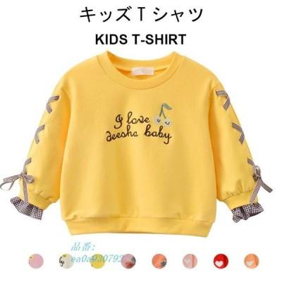 Tシャツ トレーナー カットソー キッズ 秋 女の子 シンプル 秋新作 動きやすい ゆったり 女児 トップス 長袖 おしゃれ 可愛い リボン